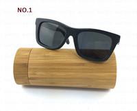 EMS Free for 10 PCS Wholesale Bamboo & Wood Sunglasses Men Polarized Revo Coating Lens Wayfarer Oculos De Sol With Box ESBM001