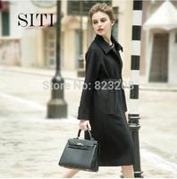 SITI S-XL 2014 Newest Fashion Brand Women Black elegant straight wool coat 14DC210