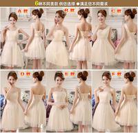 New 2014 Original design cute elegant bridesmaid dresses special price offer champagne chiffon patchwork lace vestido de festa