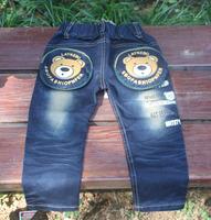 retail child boy letter  cartoon bear pocket jeans