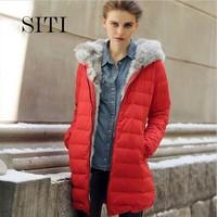SITI S-XXXL 2014 duck down jacket women new female hood fur rabbit collar vest sale winter red black long parka