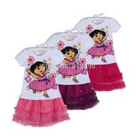 Retail Children Sets! New 2014 summer Dora child clothing sets Cartoon casual suit Kids skirt set LittleSpring GLZ-T0238