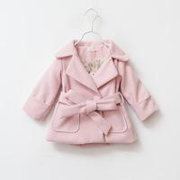 2014 winter high quality children girl wool coats with belt kids melton jacket