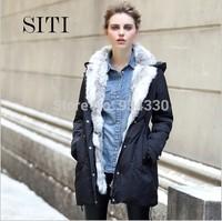 SITI XS-XXXL 2014 NEW nordic rabbit fur black thick down coat woman jacket 13DC006A