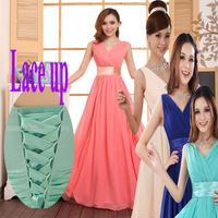new fashion 2015 costumes bride toast long blue V-Neck lace up bridesmaid dress plus size bandage party dresses