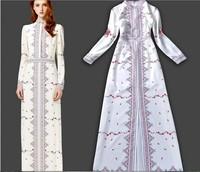 2014 newest Autumn Runway Stand Collar Flower Long Dress Women Elgent Dress Long Sleeve Dress Free Shipping