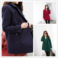 2014 Winter Hot selling preppy style double breasted woolen coats Cheap solid color slim long winter coat women