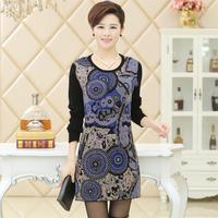L-XXL 2014 Autumn Winter Mother Thick Cashmere Sweater Dress, Middle-age Women Print Long Pullover Plus size 4 Colors