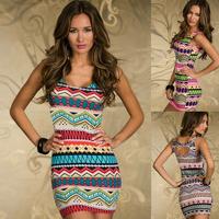 DA12 Sexy Womens Ladies Vintage Contrast Color Ethnic Style Clubwear Bodycon Mini Dress