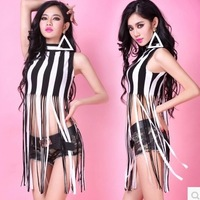 Hot sale free shipping women stage wear bar performance costume girl stripe hollow clothing tops sexy tassel dance clothes tees