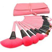 1set 24pcs eyeshadow powder brush set cosmetic makeup brush tool kits with leather case pink colour CZ004