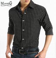 2014 free shipping New Fashion Men's  Slim Fit Polka Dot Printed Camisa causal shirts men shirt with long sleeve  M- XXXL