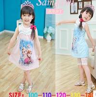 Hot Sale Girl's sets cute cartoon sleeveless dress +Bud silk leggings girl's suits fashion kids clothing pink,blue