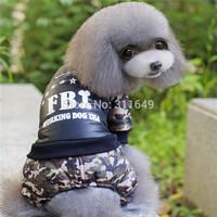 10pieces/Lot Dog FBI Camouflage Clothes Sport Pet Jumpsuit Winter Warm Jacket  Fashion Apparel  Puppy Coat  PC14053