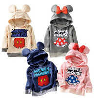NEW Free shipping 5pcs/lot  children clothes baby cotton printing cartoon hooded coat  1-6years with 4 styles design