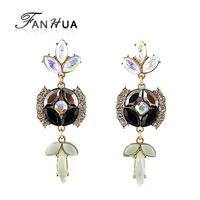 Black Color Earrings Rhinestone Figure Shape Pendientes Women New  Fashion  Brincos Femininos Cute Joyas