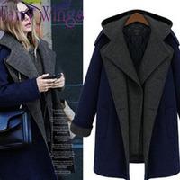 2014 Woolen Women Winter Coat Woolen Wool Long Sleeve Patchwork Thick Casual Slim Fashion Overcoat Casacos Femininos PH2325