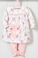 New Arrive Girl's sets cartoon Cat floral leisure long sleeve dress + pink pants / leggings kids clothing girl's suits