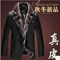 Free shipping sheep skin leather one lamb fur collar men fur leather coat