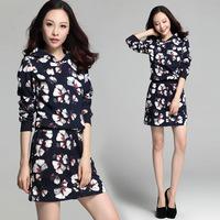 XL-4XL Sports Suit 2014 Good Quality Autumn Female Medium-long Plus Size XXXL Print Women's Hooded Sweatshirt Dress Hoodie