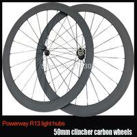 700C carbon wheels Powerway R13 Ceramic Bearings hub 50mm clincher road cycling wheelset