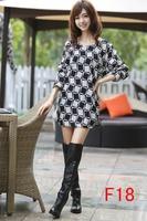 free shipping 2014 new fashion women autumn winter dress M L XL XXL XXXL 4XL 5XL 6xl plus size plaid printed dresses vestidos