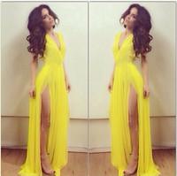 Charming  Elegant Leg Split Sexy Deep V-neck long casual Dress Yellow Evening Fashion Maxi Chiffon Club Bohemian Pleated Dress
