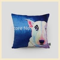 45*45cmPersonalized Bull Terrier Cotton cushion covers decorative throw pillows blue french horn decor almofadas para sofa A082