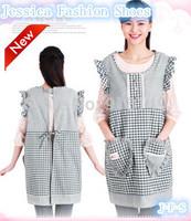 100% cotton doll collar grid cartoon women kitchen Japan style waist sleeveless apron antifouling sanitary 5 color free shipping