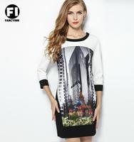 Fancyinn Brand 2014 Autumn Original 3/4 Sleeves O-neck Stitching Building Pattern Printing Slim Women Dress