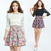 XL-5XL 2014 Autumn Fashion Ladies Plus Size XXXXL Sweet Long Sleeve Lace Patchwork Floral Print Cotton Slim Pleated Dress