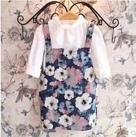 Free Shipping Wholesale (5 Size/Lot) New 2014 Childrens Kids Girls Autumn Fashion Leisure Flowers Denim Strap Dress