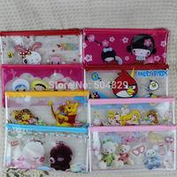 wholesale 500pcs/lot children PVC pencil case  pen bags pocket women cosmetic makeup bag