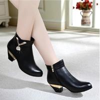 Plus Size 35-43 Women's Fashion Ankle Boots Heels Winter Black Boots Ladies Genuine Leather Suede Designer Platform Woman.