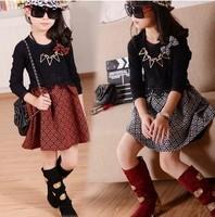 Free Shipping Wholesale (5 Size/Lot) New 2014 Childrens Kids Girls Autumn Fashion Leisure Bow Lace Stitching Dress