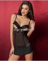 1set/lot Sex Lingerie Babydoll open bust bra see-through sheer mesh Underwear Set 3 sizes free tracking