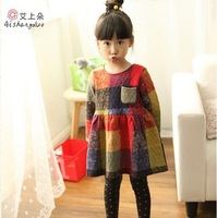 Free Shipping Wholesale (5 Size/Lot) New 2014 Childrens Kids Girls Autumn Fashion Leisure Quilted Color Plaid Princess Dress