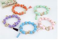 Wholesale korea fashion Lady joker multielement pendant leopard beads bracele 12pcs/lot