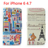 Premium Leather Flip Hard eiffel Tower Pattern  Case For iPhone 6 5S Flower/Car/Bear Fashion wallet pouch cover
