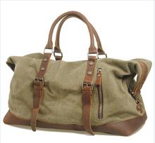 Free shipping new arrival large capacity Linen soft men's travel bag genuine leather retro vintage shoulder bag luggage handbag(China (Mainland))