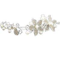 Elegant Wedding Bridal Pearls Crystal Rhinestone Flower Hair tiara Headband E4522
