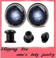 Black UV shield acrylic logo screw fit ear flesh tunnel Free Shipping 240pcs/lot mix 8sizes Gauge expander Stash plugs
