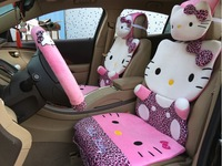 2014 new pink polka dot leopard hello kitty car seat covers sets all in one front rear full set lovely cartoon auto seats cover