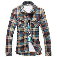 Big Size M-5XL 2014 new winter men's casual Cotton long-sleeved shirts High Quality mens Thick plaid shirt Slim fit shirt of man