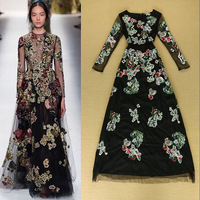 Hot!!! 2014 Europe High-end Autumn Runway Ladies Sexy Heavy Embroidery Luxury Mesh Dress Slim Floor Length Party Dress 0922