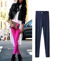 Europe 2014 new fall fashion women skinny leggins, ladies elastic waist American Slim pearl candy color leggings all match