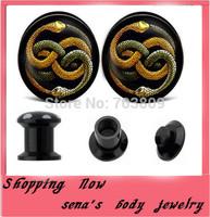High quality flesh tunnel and plug free shipping mix 8size 160pcs lot snake logo stash ear plugs black uv ear expander wholesale