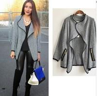 2014 winter coats big brand high quality Authentic fashion loose pure color knit women coat lapels women winter coat