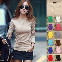 2024 free shipping 2014 autumn winter women new fashion 13colors long sleeve v neck plus velvet slim t shirts ladies girl blouse
