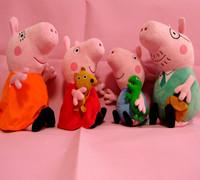 2014  baby 4 pcs kids peppa pig family peppa pig plush toys george pig dolls anime  toys